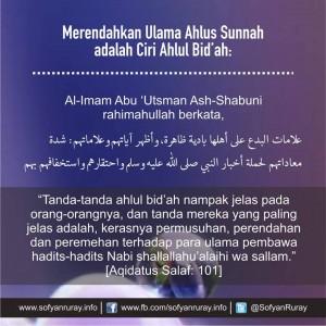 Merendahkan Ulama Ahlus Sunnah Ciri Ahlul Bid'ah