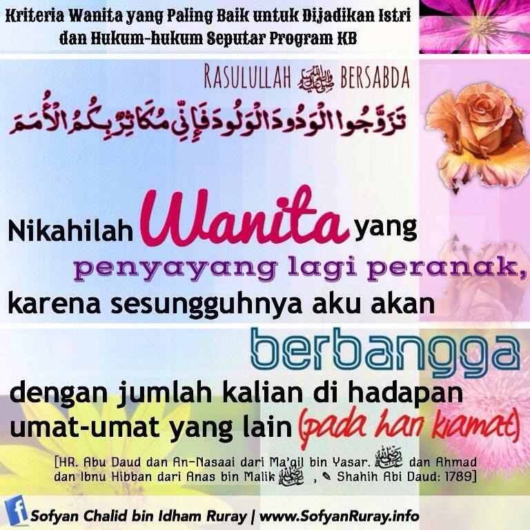 Kriteria Wanita yang Paling Baik untuk Dijadikan Istri dan Hukum-hukum KB
