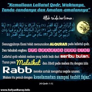Kemuliaan Lailatul Qodr, Waktunya, Tanda-tandanya dan Amalan-amalannya
